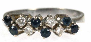 Brillant-Saphir-Ring, 585er WG, besetzt mit 4 Brillanten u. 6 Saphiren, RG 56,5