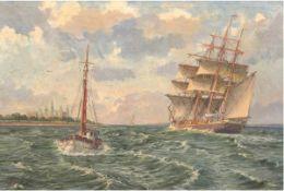 """Gundorff, Georg (1876-1925) """"Segelschiff vor dänischer Küste"""", Öl/Lw., sign. u.l., 67,5x97 cm,"""