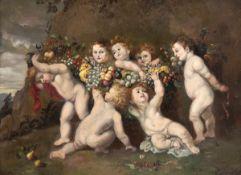 """Maler des 18./19. Jh. nach Peter Paul Rubens """"Der Früchtekranz"""", Öl/Kupferplatte, unsign., 19x25,5"""