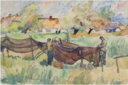 """Allner, Rudolf (1891 Berlin- 1969 ebenda) """"Fischer beim Aufhängen der Netze"""", Aquarell, signiert,"""