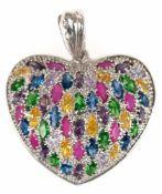 """Anhänger """"Herz"""", 925er Silber, rhodiniert, besetzt mit echten und synth. Steinen und Zirkonia, Maße"""