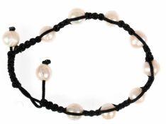 Shambala-Armband, 10 echte Perlen, in geflochtenem Textilband