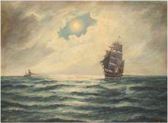 """Rygaard, Thorvald (1872-1939) """"Segelschiffe in der Abenddämmerung"""", Öl/Lw., sign. u.r. und dat."""