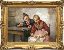 """Frigerio, Raffaele (1873 Mailand- 1936 ebenda) Pendants """"Miteinander musizierender älterer Herr mit"""