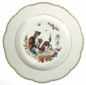 Meissen-Teller, mit chinesischer Drachenmalerei, Goldrand, 1. Wahl, Dm. 26 cm