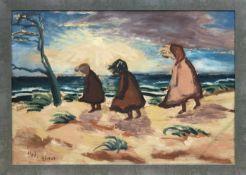 """Weyl, Hans (Schüler von Franz Höhne) """"Im Sturm an der Ostsee"""", Öl/Hf., monogr. u.l."""