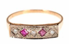 Ring, 750er GG, Rubine und Brillanten, RG 55, Innendurchmesser 17,5 mm