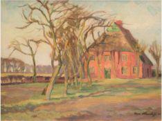 """Hartleff, Arnold (1888-1978) """"Einsames Bauerngehöft"""", Öl/Mp., sign. u.r. u. dat. '20, 41x51 cm,"""