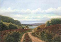 """Jessen, Aage (1876-1961) """"Sommerliche Heidelandschaft mit fernem See"""", Öl/Lw., sign. u.r., 65x88,5"""