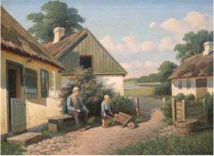 """Larsen, Alfred Valdemar (1860 Stenderup- 1946 Virum) """"Sommerlandschaft mit Großvater und Enkel vor"""