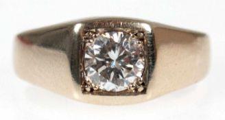 Brillant-Ring, 585er GG, ca. 10,1 g, besetzt mit Solitär von ca. 0,96 ct, W/P1, RG 56,5