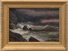 """Gudin, P. (1. Hälfte 20. Jh.) """"Brandung an Felsenküsten bei Sturm"""", Öl/Mp., signiert u.l., 25x36"""