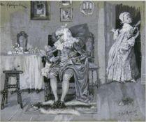 """Reinicke, Paul René (1860 Strenznaundorf- 1926 Wildsteig) """"Der Hypochonder"""", Feder und Gouache/"""