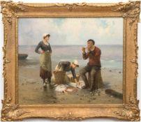 """Psalmon, M. (Frankreich Ende 19. Jh.) """"Fischersleute mit Fang am Strand"""", Öl/Lw., signiert und"""