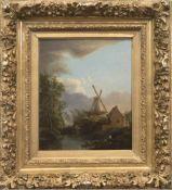 """Landschaftsmaler (Niederlande 18./19. Jh) """"Flußlandschaft mit Windmühle"""", Öl/Eichentafel,"""