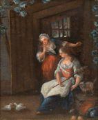 """Radl, Anton (1774 Wien-1852 Frankfurt am Main) """"Zwei Frauen beim Tauben füttern"""", Öl/Lw./ Radl,"""