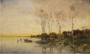 """Heffner, Karl (1849 Würzburg-1925 Berlin ) """"Herbstabend"""", Öl/Lw., signiert u.l., rücks. auf"""