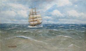 """Jensen, Alfred Prof. (1859 Randers-1935 Hamburg) """"Dreimaster auf See"""", Öl/Lw., sign. u.l., 80x130"""