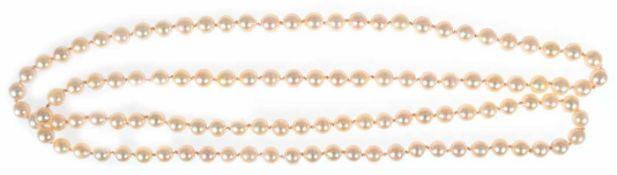 Endlos Akoya-Perlenkette, cremefarben, Dm. der Perlen ca. 6 mm, feiner Lüste, gute Qualität, L. ca.