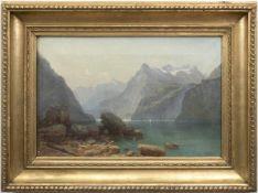 """Landschaftsmaler des 19. Jh. """"Blick auf den Königssee"""", Öl/Lw., unsign., kl. Farbabpl., 34x49 cm,"""