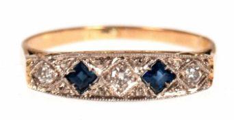Ring, 750er GG, Saphire und Brillanten, RG 57, Innendurchmesser 18,1 mm