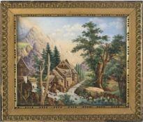 """Porzellanbild, Böhmen 19. Jh., """"Idyllische Berglandschaft mit Dorf an einem Fluß, umgeben von"""