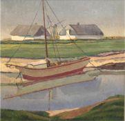 """Mähl, I. (20. Jh.) """"Fischerboot vor Bauerngehöft mit Windmühle liegend"""", Öl/Lw., signiert und Mähl,"""