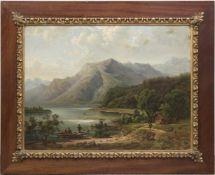 """Gerds, F.C. """"Bergsee mit Ruderer auf dem See"""", Öl/Karton, sign. u.r. und dat. 1903, 60x80 cm,"""