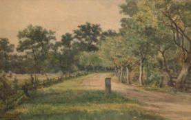 """Breitbach, Carl (1833-1904) """"Waldweg mit Blick auf ein Feld bei der Ernte"""", Aquarell/Papier, sign."""