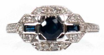 Ring im Art Deco-Stil, 925er Silber, rhodiniert, Saphire 0,72 ct., Brillanten 0,15 ct, RG 54, Ring