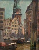 "Sandrock, Leonhard (1867 Neumarkt-1945 Berlin) ""Hamburger Fleet mit Blick auf den Michel"", Öl/Lw.,"