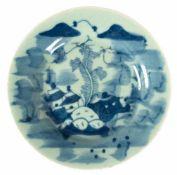 China-Teller, 20er Jahre, Porzellan, mit figürlicher Blaumalerei, glasiert, gemarkt, Dm. 23 cm