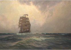 """Marinemaler (Anf. 20. Jh.) """"Zweimastsegler auf See"""", Öl/Lw., unleserl. signiert u.r., 72x96 cm,"""