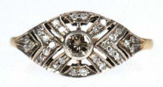 Brillantring im Art Deco-Stil, 750er GG, Brillanten 0,48 ct. in Silber gefasst, getönter