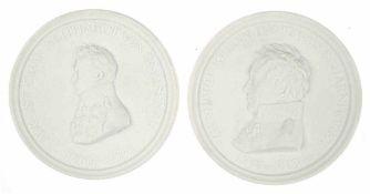 """2 große Meissen-Plaketten, Biskuitporzellan, """"August Graf Neithardt von Gneisenau"""" und """"Gerhard J."""