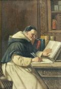 """entfällt """"Mönch in der Schreibstube"""", Öl/Lw., bezeichnet """"Grützner"""" u.l., 32x22 cm, Rahmen"""
