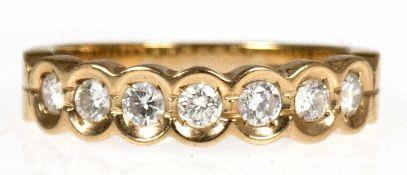 Halbmemory-Ring, 585er GG, 7 Brillanten zus. 0,50 ct., punziert, RG 55, Innendurchmesser 17,5 mm,