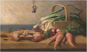 """Jahnsen """"Küchenstilleben mit Krabbe, Lauch und Möhren"""", Öl/Lw., sign. und dat. 1924 u.l., 28x44 cm,"""