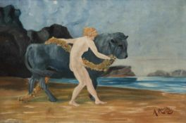 "Raisz, A. ""Europa mit dem Stier"", Öl/Lw., sign. u.r. und dat. 1913, 32x46 cm, Rahmen"