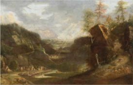 """Venne, I. van de """"Felsige Berglandschaft mit Gebirgspfad über einem Flußtal"""", Öl/Lw., doubliert,"""