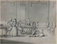 """Gröger, FC. """"Familie Benke im Interieur"""", Zeichnung/Papier, verso Auflistung der Dargestellten."""