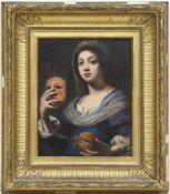 "Nach Lorenzo Lippi (1604-1666) ""Frau mit Maske"", Öl/Lw., unsign., 1 kl. Hinterlegung, rückseitig"