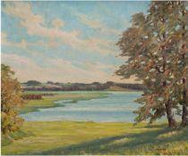 "Voß, W. ""Seelandschaft mit Bäumen"", Öl/Hf., sign. u.r. 61x70,5 cm, Rahmen"