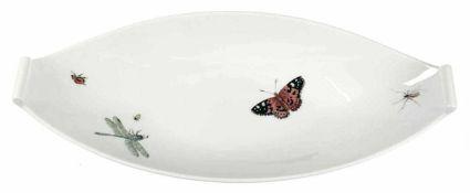 Meissen-Schale, Schiffchenform, mit Insektenmalerei, Sonderanfertigung, 1. Wahl, L. 36 cm Meissen-