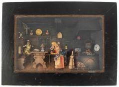 """Diorama """"In der bäuerlichen Küche"""", um 1900, diverse Materialien farbig bemalt, hinter Glas im"""