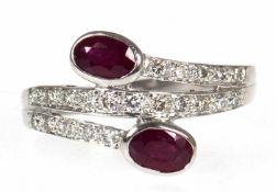 Ring, 750er WG, 2 Rubine von exzellenter Farbe, Brillanten zus. ca. 0,30 ct., RG 61,