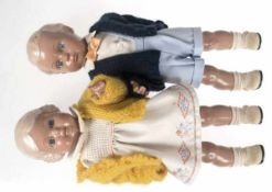 """2 Schildkröt-Puppen """"Bärbel und Hans"""", gemarkt und nummeriert Hans REP 41 05626 u. Bärbel"""