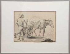 """Süddeutscher Maler um 1750 """"Bauern am Feldrand"""", Zeichnung, unsign., 24x30 cm, hinter Glas"""