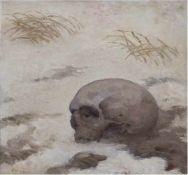 """Venzmer, Erich (1893 Rostock-1975 Schwerin) """"Memento- Schädel im Schnee"""", Öl/Pappe,"""