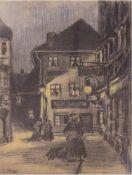 """Wagner, Louise M. (1875-1950) """"Abendliche Straßenszene"""", Mischtechnik, monogr. u.l., 43x29"""